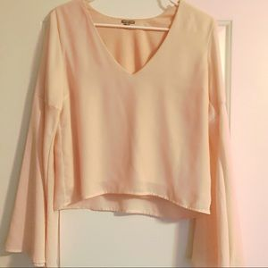 Charlotte Russe Bell Sleeve Light Pink Blouse